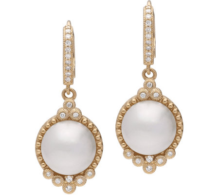 Judith Ripka 14k Gold Cultured Mabe Pearl And Diamond Earring Qvc