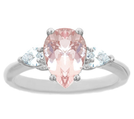 14K Gold 1.50 cttw Pear-Shaped Morganite Ring