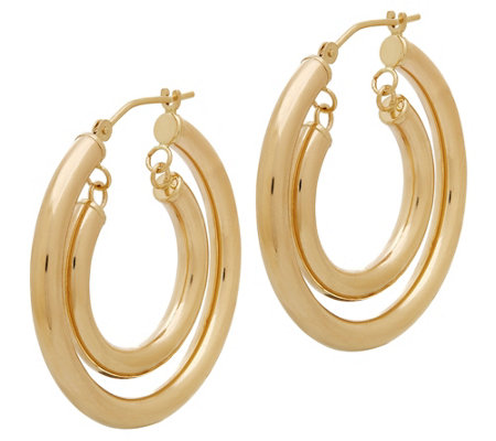 Eternagold Polished Double Hoop Earrings 14k Gold
