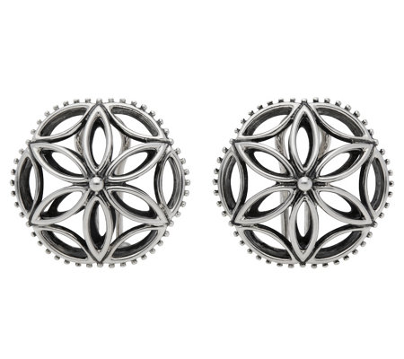 Elyse Ryan Sterling Floral Button Earrings
