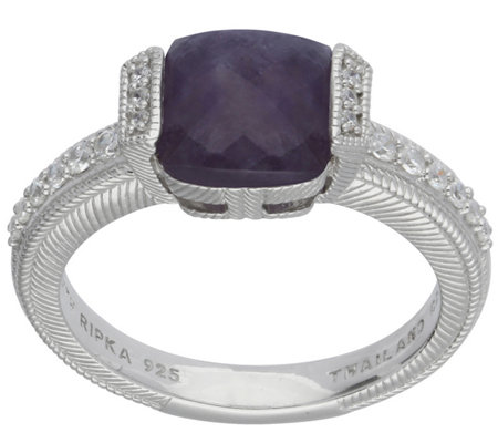 Judith Ripka Sterling Cape Amethyst & Diamonique Ring