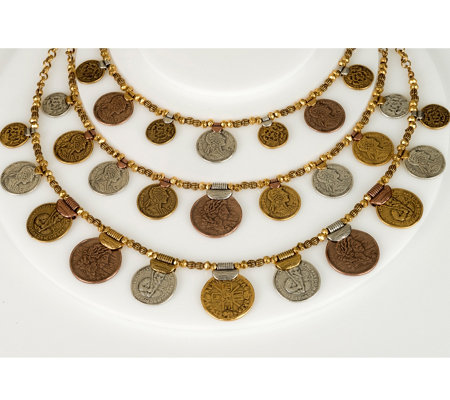 Linea by Louis Dell'Olio 3-Row Graduated GypsyCoin Necklace