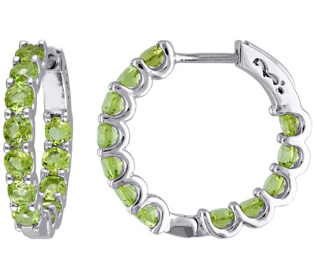 Sterling Silver 3.80 cttw Peridot Hoop Earrings