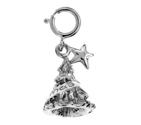 14K White Gold Christmas Tree Charm