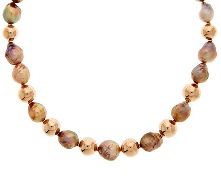 "Honora 10.5mm-13.5mm Ming Cultured Pearl & Bronze 20"" Necklace"