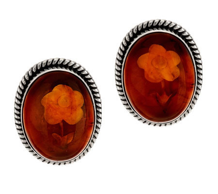 Artisan Crafted Sterling Carved Amber Oval Stud Earrings