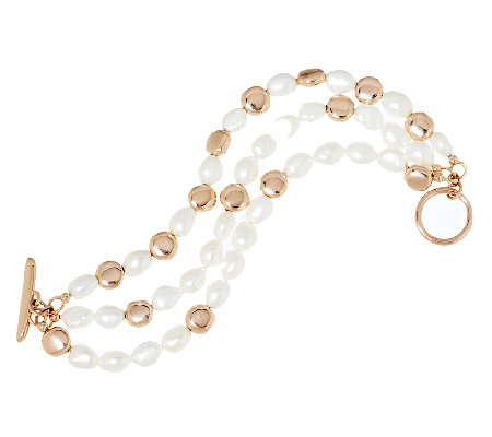 Honora Cultured Pearl 8.0mm Baroque Triple Strand Bronze Bracelet