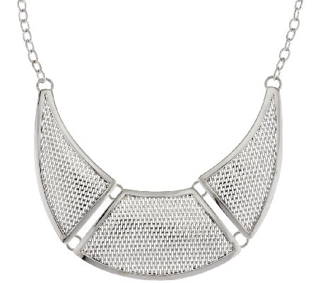 Dominique Dinouart Sterling Mesh Station Necklace, 54.0g