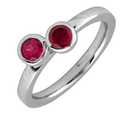 Simply Stacks Sterling Created Ruby Double Circle Ring