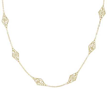 "Vicenza Gold 36"" Stationed Diamond Shape Necklace 14K Gold, 2.5g"