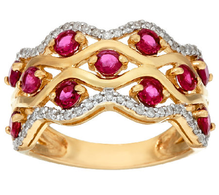 Exotic Gemstone & Diamond Wave Design Band Ring 14K Gold