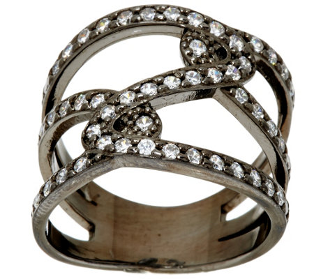 """As Is"" Italian Silver Sterling Diamonique Double Status Design Ring"