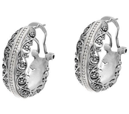 Or Paz Sterling Silver Lace & Bead Hoop Earrings