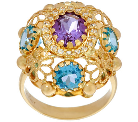 """As Is"" Arte d' Oro 5.00 ct tw Multi-Gemstone Oval Ring 18K Gold"