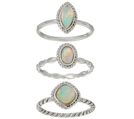Ethiopian Opal Sterling Siver Set of 3 Stack Rings