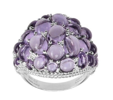 Judith Ripka Sterling Amethyst & Diamonique Cluster Ring