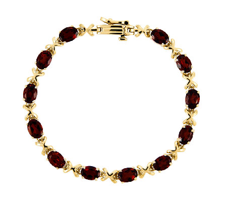 "7"" Choice of Gemstone ""X"" Tennis Bracelet, 14K Gold"