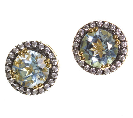 Graziela Gems Gemstone Stud Earrings, Sterling/18K Yellow
