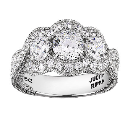 Judith Ripka Sterling 5.25cttw 3-Stone Diamonique Ring