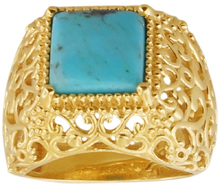Sterling & 14K Gold-Plated Domed Turquoise Ring