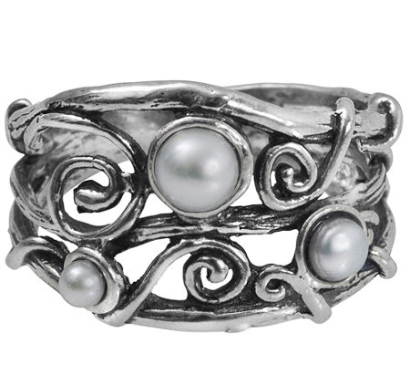 Sterling Cultured Pearl Swirl Ring by Or Paz