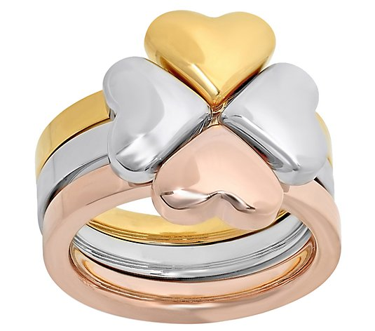 Steel by Design Three-Piece Heart Clover Ring