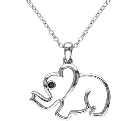 Black Diamond Accent Elephant Pendant w/ Chain,Sterling