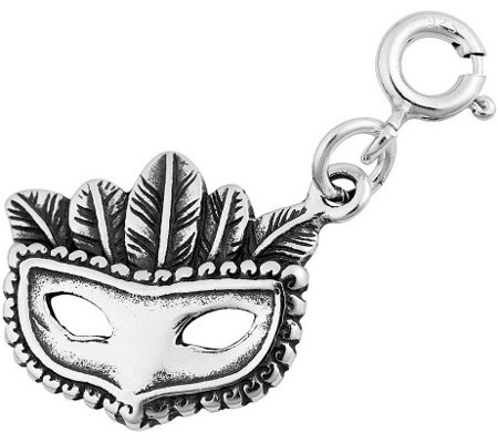 Sterling Silver Mardi-Gras Mask Charm