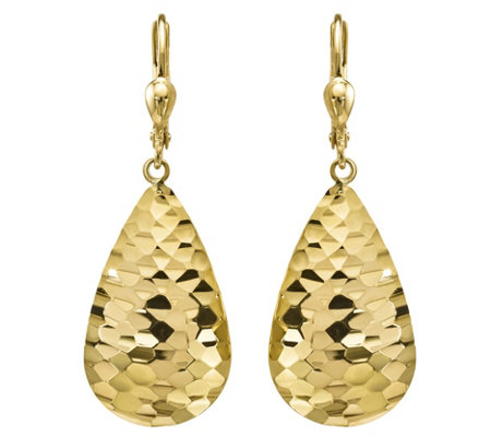 14K Gold Pear-Shaped Lever-Back Earrings