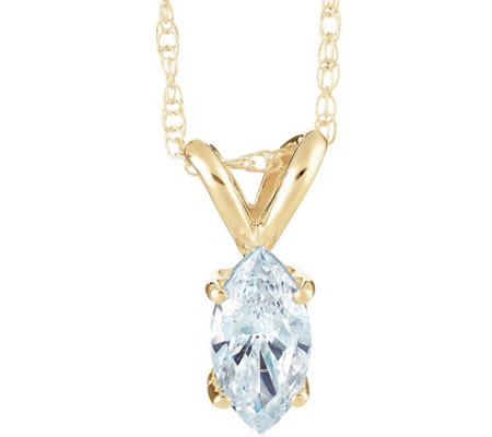 Marquise Diamond Pendant, 14K Yellow Gold, 1 ct, by Affinity