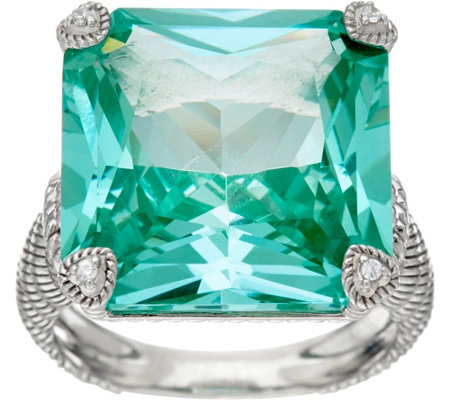 Judith Ripka Sterling Silver Simulated Paraiba Spinel Montana Ring