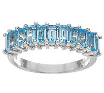 Baguette Semi-Precious Gemstone Sterling Band Ring - J348285