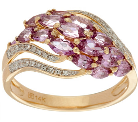 Marquise Purple Sapphire & Diamond Domed Ring, 14K Gold 1.90 cttw