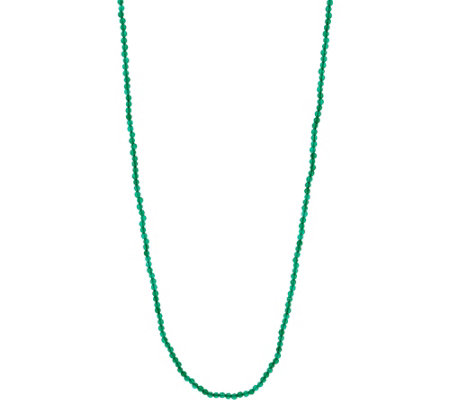"JAI Sterling Silver 36"" Green Agate Bead Necklace"