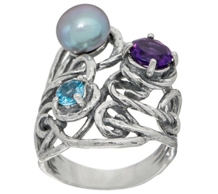Or Paz Sterling Silver Cultured Pearl & Gemstone Ring