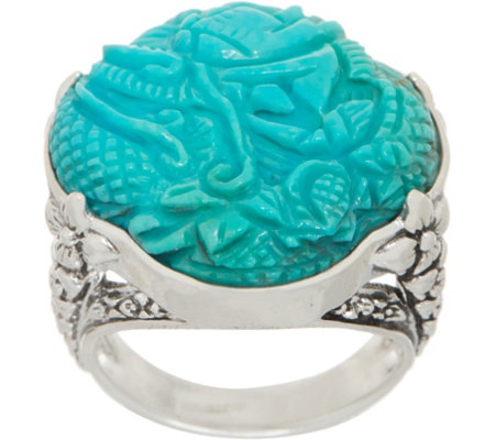 Stephen Dweck Sterling Silver Carved Turquoise Ring