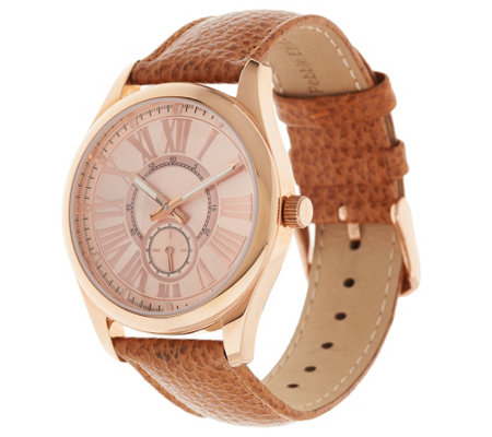 Bronzo Italia Leather Strap Boyfriend Watch