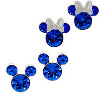 Mickey's 90th Birthday Simulated Birthstone Stud Earrings, Sterl - J359185