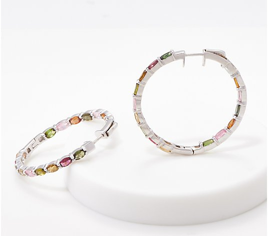 Sterling Multi- Tourmaline Inside Out Hoop Earrings, 5.90 cttw