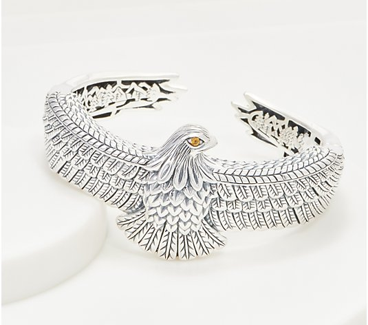 JAI Sterling Silver & Citrine Born to Soar Eagle Cuff, 60.9g