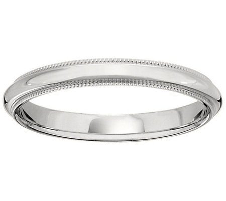 Women's Platinum 3mm Milgrain Wedding Band