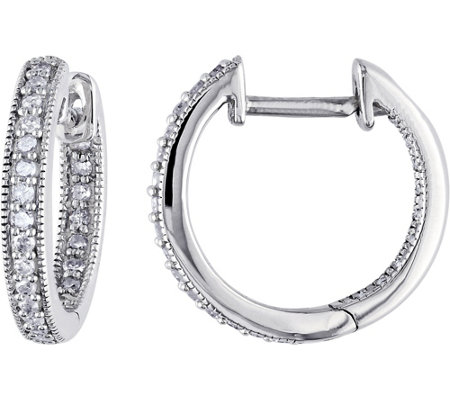 Diamond Hoop Earrings, 14K White Gold, 1/5 cttw, by Affinity