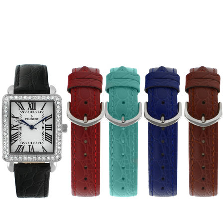 Peugeot Women's Stainless Rectangular Crystal 5Band Watch Set