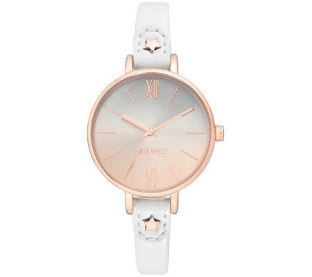Nine West Women's Rosetone White Strap Watch