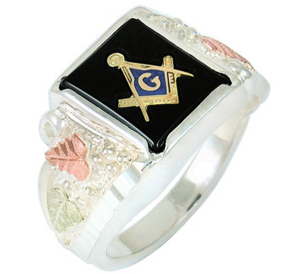 Black Hills Men's Masonic Onyx Ring, Sterling Silver/12K Gold