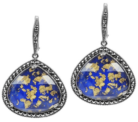 Suspicion Sterling Lapis Doublet & Marcasite Halo Earrings
