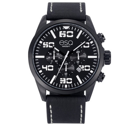 esq men s multi function stainless steel watch black dial qvc com