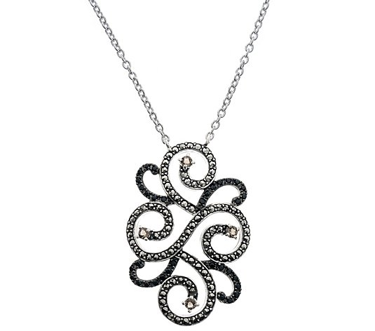 Suspicion Sterling Gemstone & Marcasite Swirl Necklace