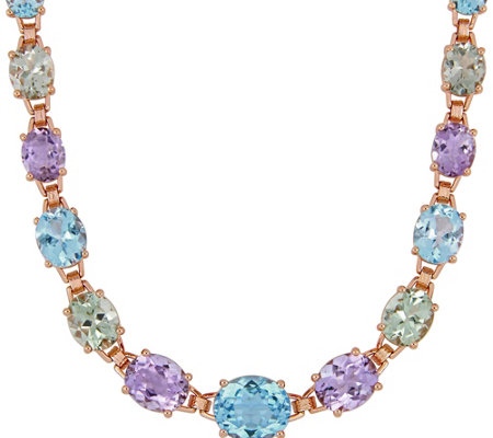 Sterling 69 00 Cttw Green Amethyst Sky Blue Topaz Necklace