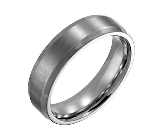 Steel By Design Men's 6mm Beveled Edge BrushedPolished Ring